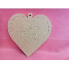 6mm MDF Heart engraved Mums sewing room